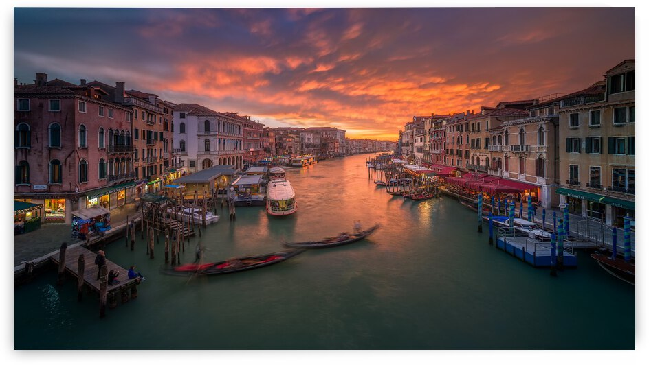 Grand Canal at sunset , view from the Rialto bridge , Venice . by 1x