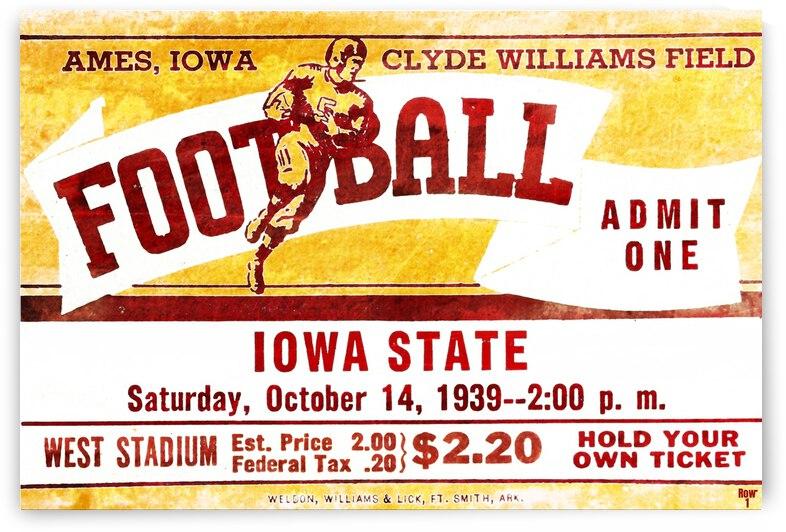 1939 Iowa State Football Ticket Stub Remix Art by Row One Brand