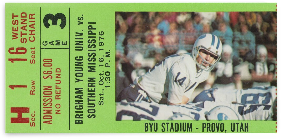 1976 BYU vs. Southern Miss Football Ticket Art by Row One Brand