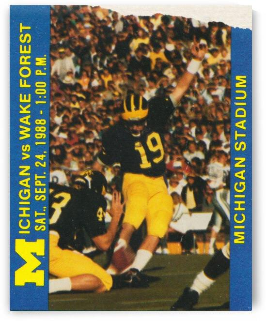 1988 Michigan vs. Wake Forest Football Ticket Canvas by Row One Brand