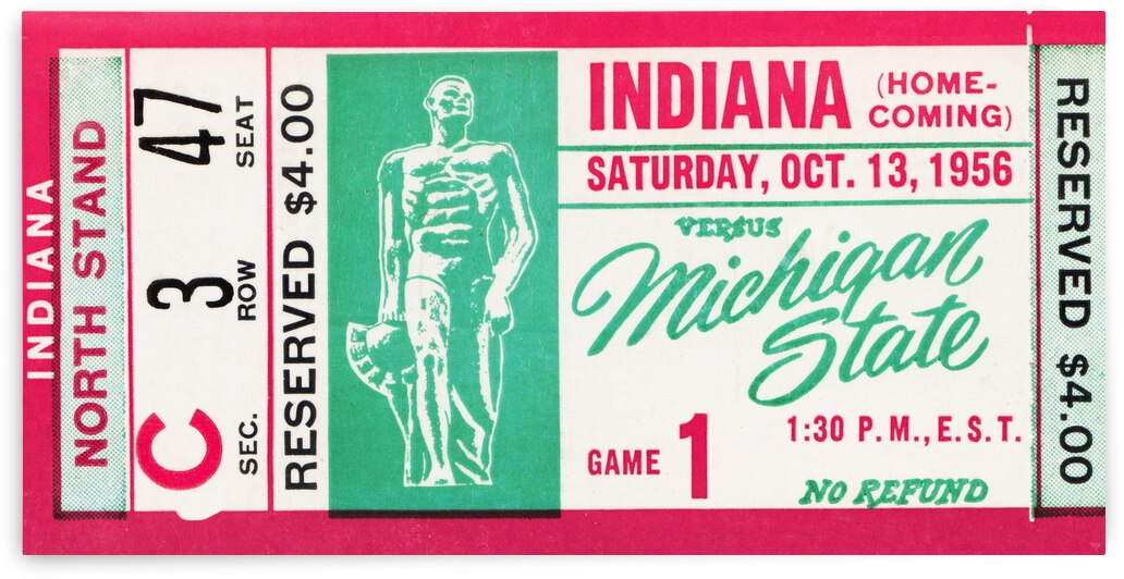 1956 Michigan State Spartans vs. Indiana Hoosiers by Row One Brand