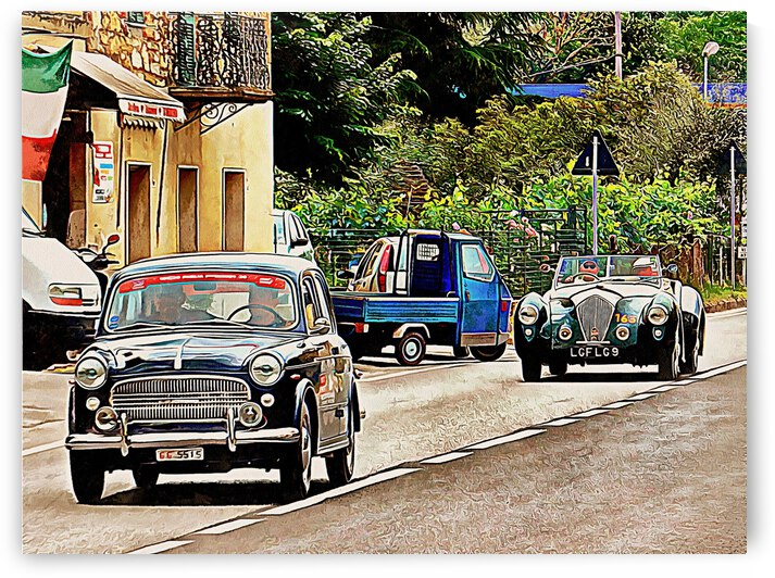 Two Classic Cars On The Road by Dorothy Berry-Lound