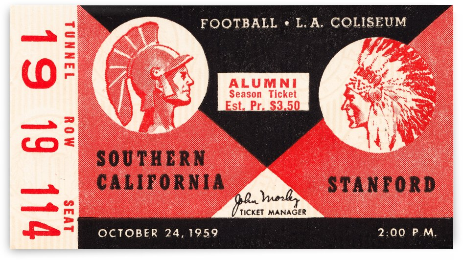 1959 USC Trojans vs. Stanford Football Ticket Canvas by Row One Brand