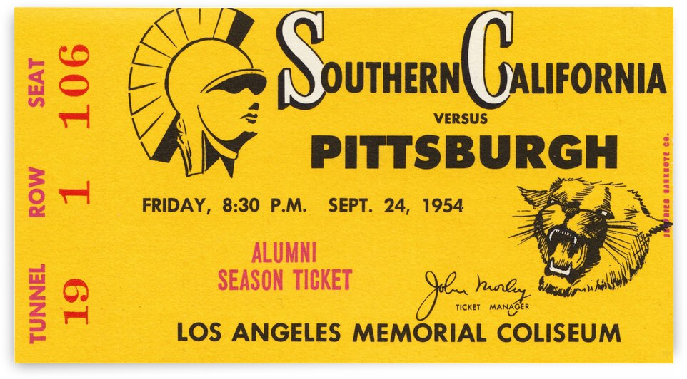 1954 USC vs. Pitt Panthers by Row One Brand