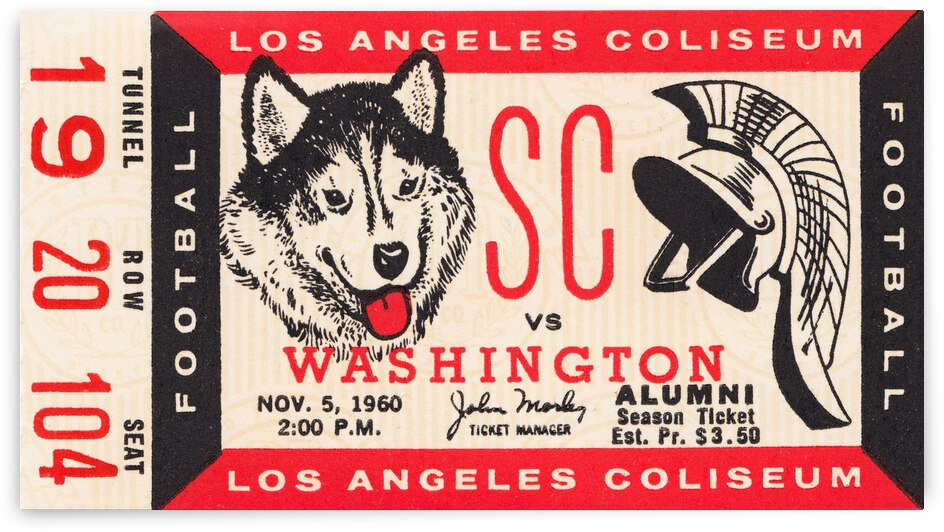 1960 USC Trojans vs. Washington Huskies by Row One Brand