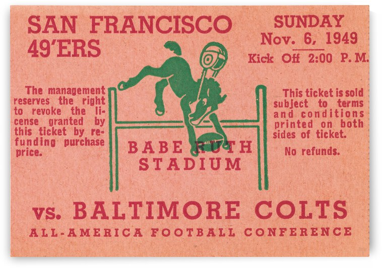 1949 Baltimore Colts vs. San Francisco 49ers by Row One Brand