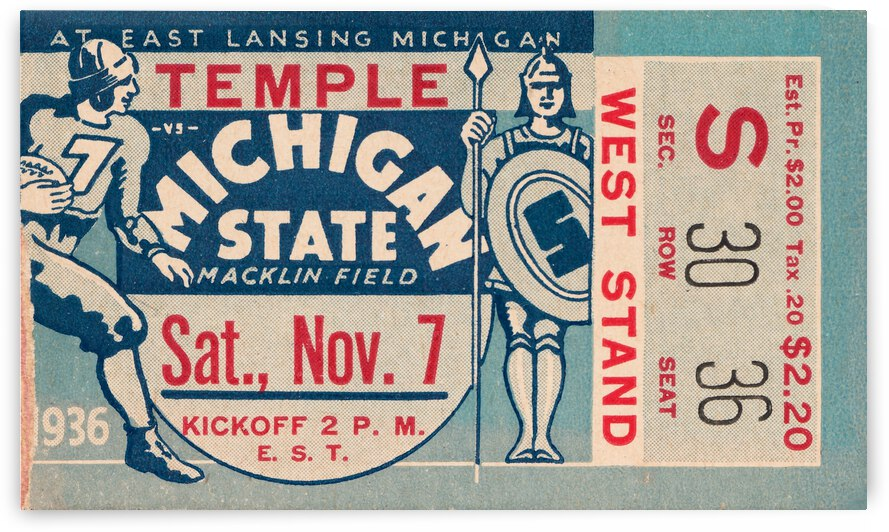1936 Michigan State vs. Temple Football Ticket Art by Row One Brand