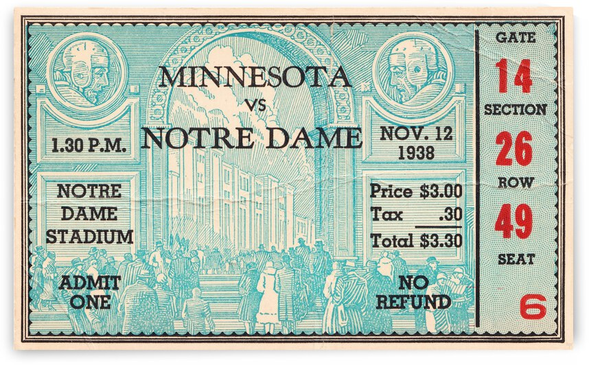 1938 Minnesota vs. Notre Dame Football Ticket Canvas by Row One Brand
