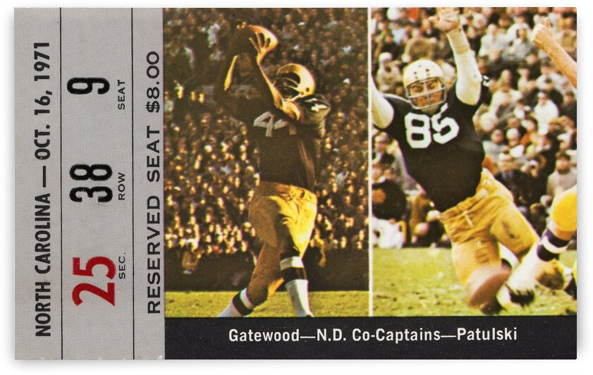 1971 Notre Dame vs. North Carolina Football Ticket Canvas by Row One Brand