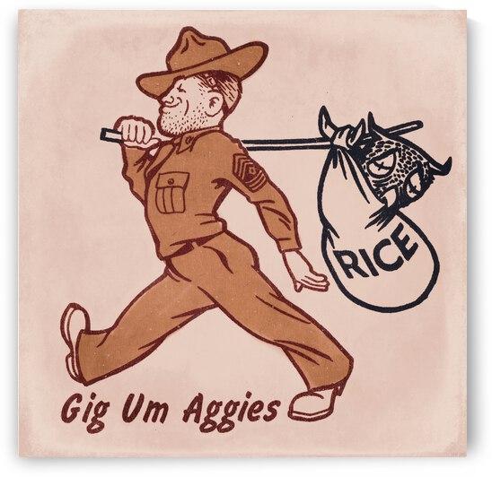 Vintage Texas AM Gig Um Aggies Art by Row One Brand
