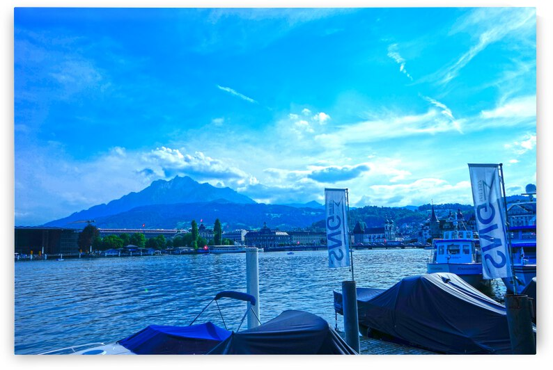 Blue Day Mount Pilatus on the Shores of Lake Lucerne   Central Swiss Alps by 24