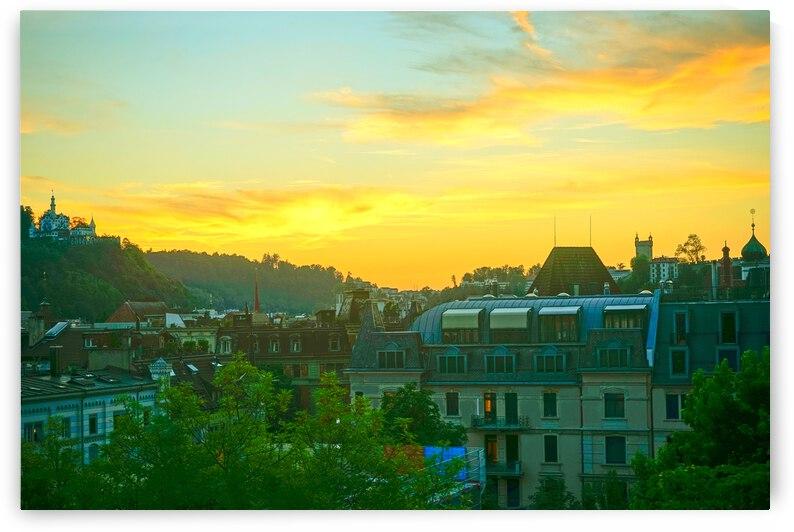 Sunset over Lucerne Switzerland by 360 Studios