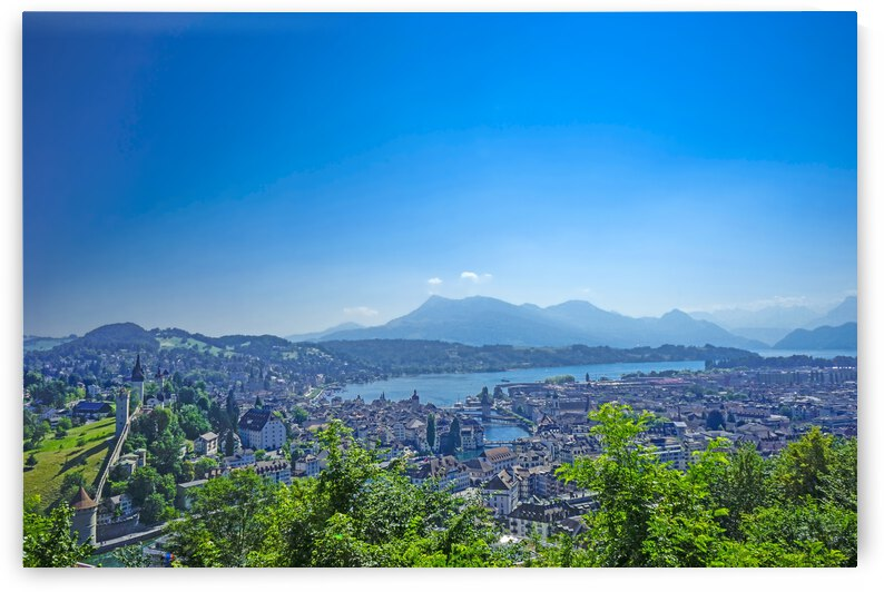 Stunning View Musegg Wall to Chapel Bridge to Lucerne and the Alps   Lucerne Switzerland by 360 Studios