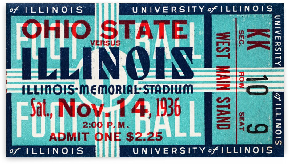1936 Illinois vs. Ohio State Football Ticket Canvas by Row One Brand
