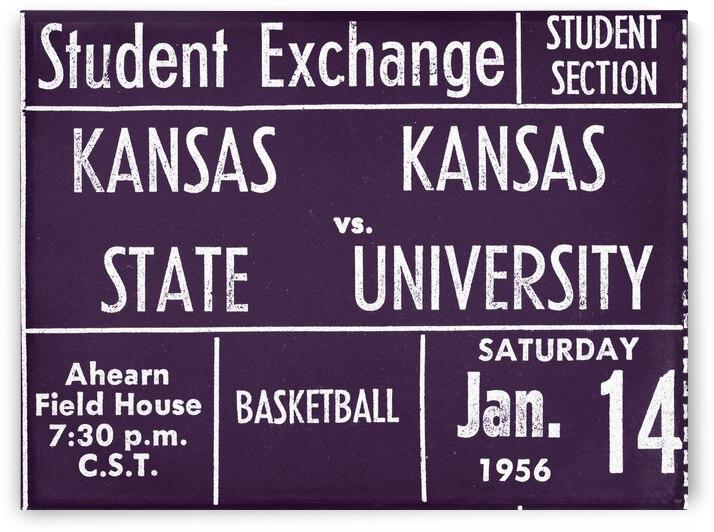 1956 Kansas State vs. Kansas Basketball Ticket Remix Art by Row One Brand