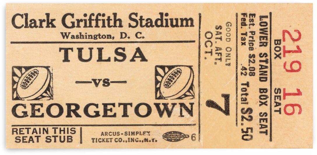 1950 Tulsa vs. Georgetown Football Ticket Art by Row One Brand