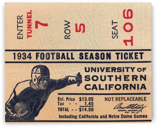 1934 USC Football Season Ticket  by Row One Brand