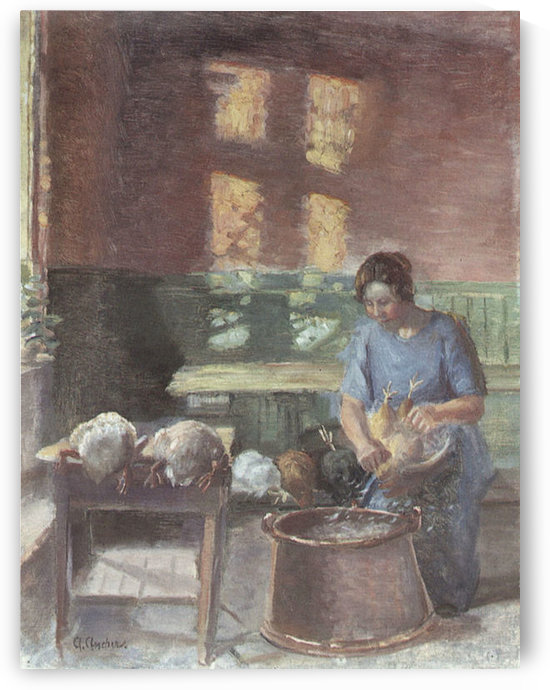 With the chickens by Anna Ancher by Anna Ancher