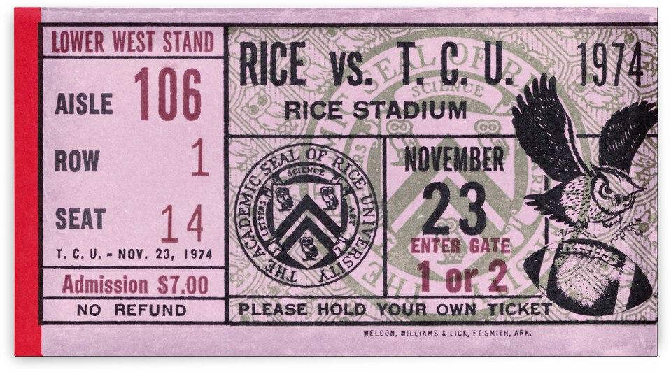 1974 Rice vs. TCU Football Ticket Canvas by Row One Brand
