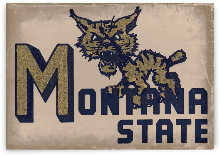 Vintage Montana State Bobcat Art by Row One Brand