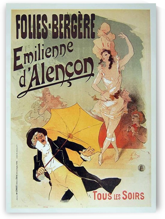Emilienne dAlencon poster, Jules Cheret by VINTAGE POSTER