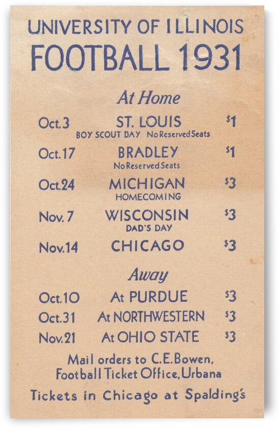 1931 Illinois Football Schedule Poster by Row One Brand