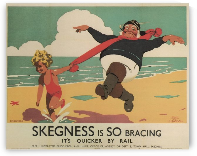 Skegness is So Bracing Its Quicker by Rail London Travel Poster 1908 by VINTAGE POSTER