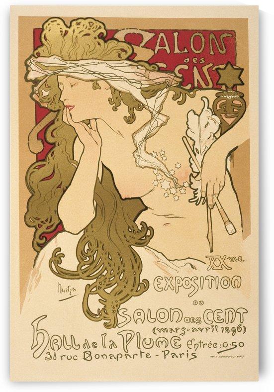 Salon des Cent Alphonse Mucha Art Nouveau Vintage Poster by VINTAGE POSTER