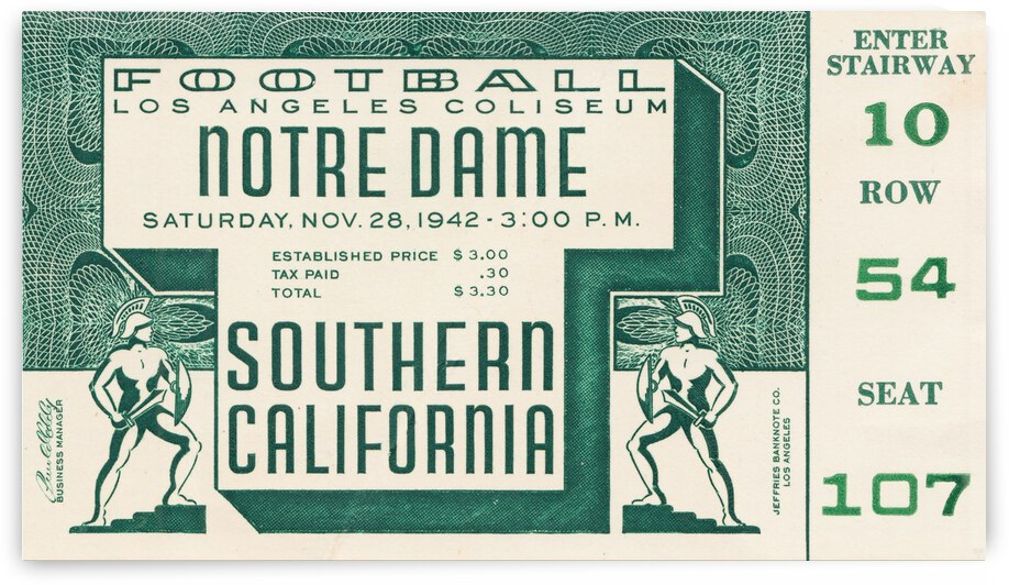 1942 USC vs. Notre Dame Football Ticket Canvas by Row One Brand