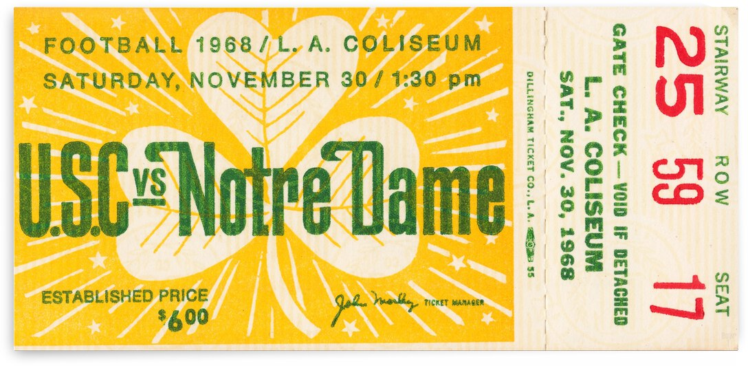 1968 USC vs. Notre Dame by Row One Brand