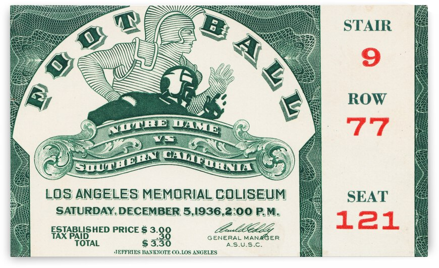 1936 Notre Dame vs. USC Football Ticket Art by Row One Brand