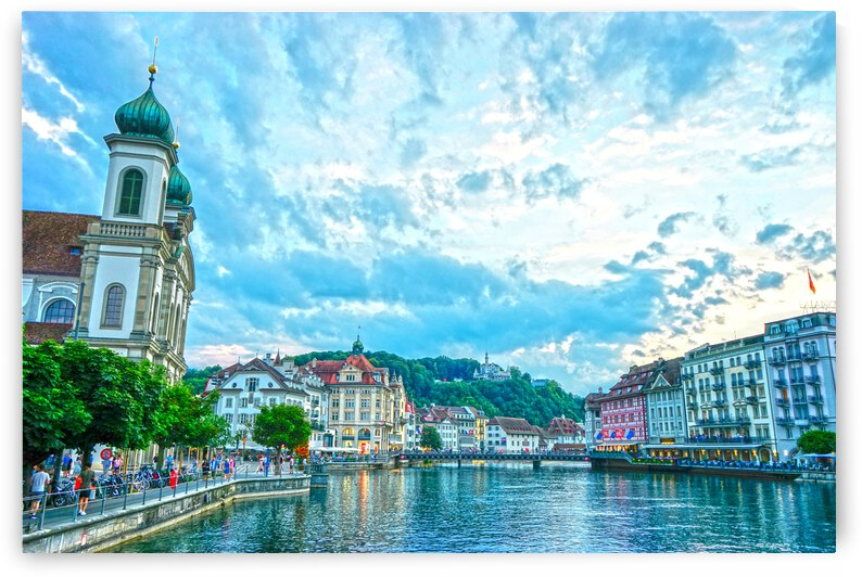 The Waterfront at Dusk in Lucerne Switzerland by 360 Studios