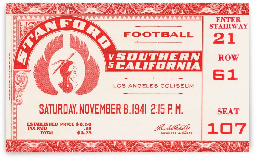 1941 Stanford vs. USC  by Row One Brand