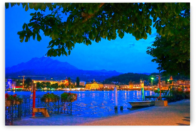 City Lights over Lake Lucerne Switzerland by 1North