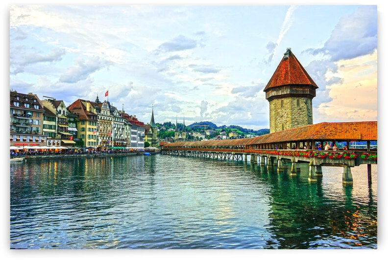 Chapel Bridge and Old Town at Sunset Lucerne Switzerland by 1North