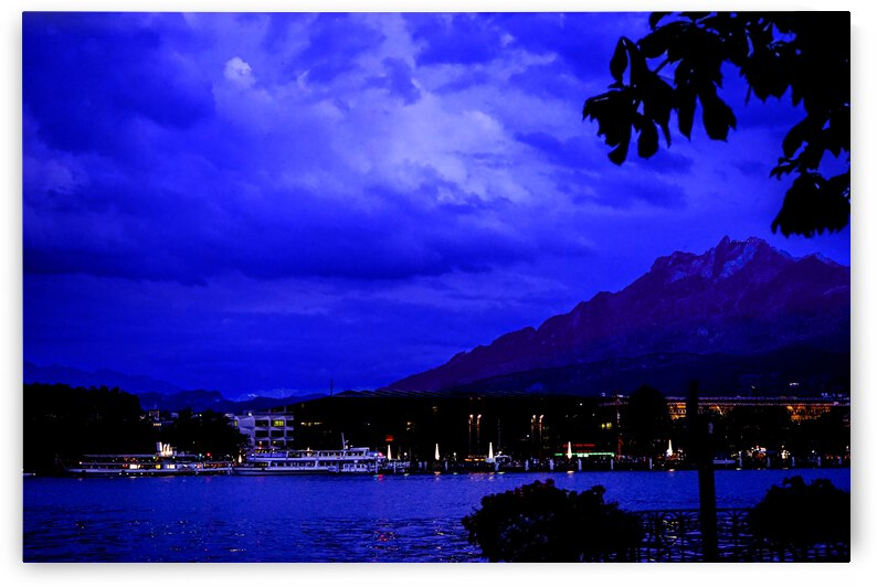 Mount Pilatus and Lake Lucerne in the Twilight by 24