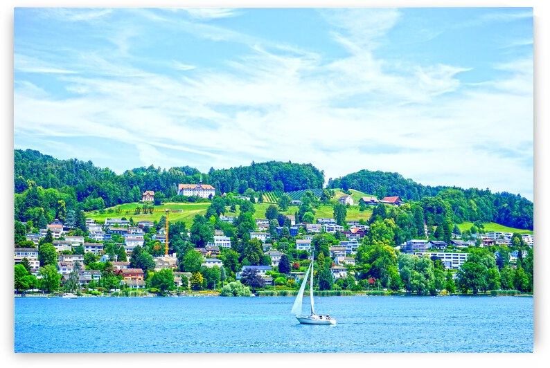 Sailboat On Lake Lucerne with Alpine Village in Background by 1North