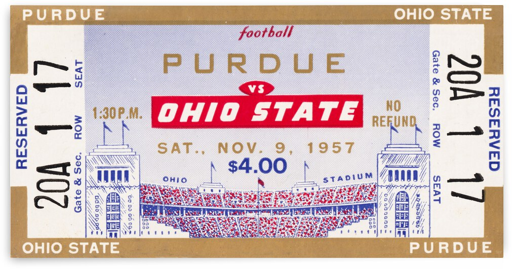 1957 Purdue vs. Ohio State Football Ticket Canvas by Row One Brand