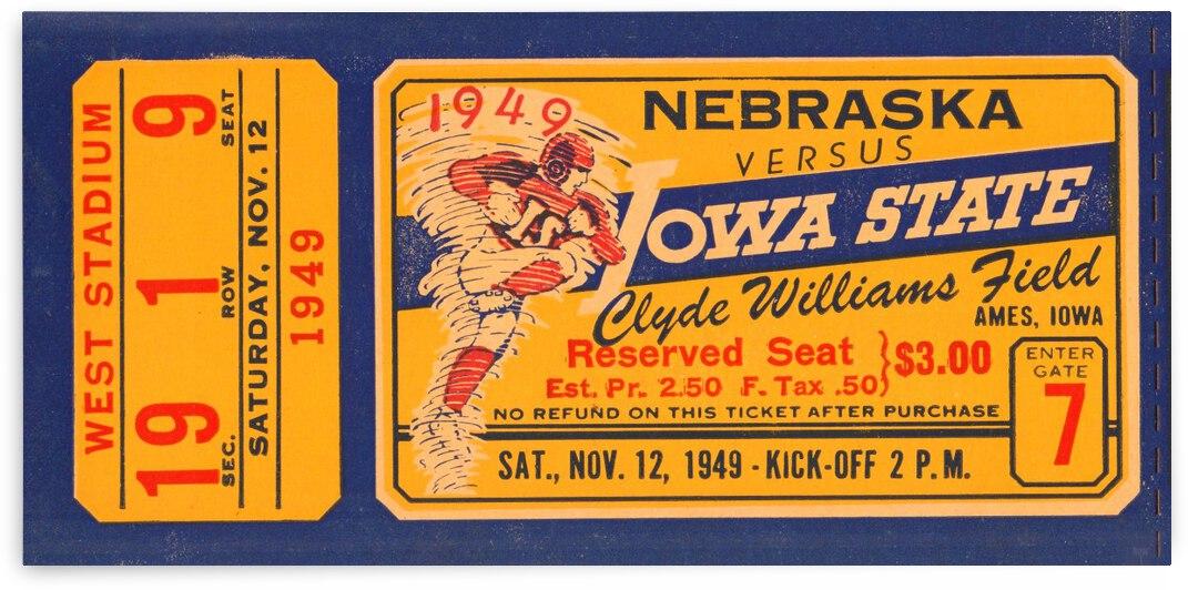 1949 Nebraska vs. Iowa State Football Ticket Art by Row One Brand