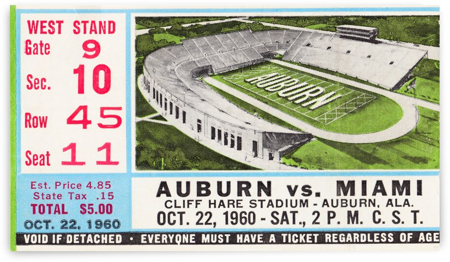 1960 Miami vs. Auburn by Row One Brand