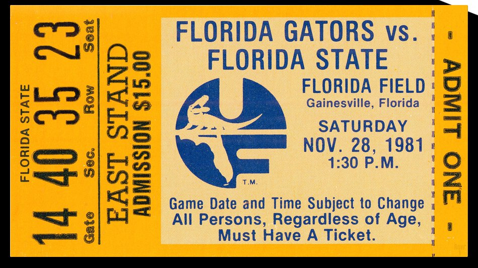1981 Florida State Seminoles vs. Florida Gators by Row One Brand