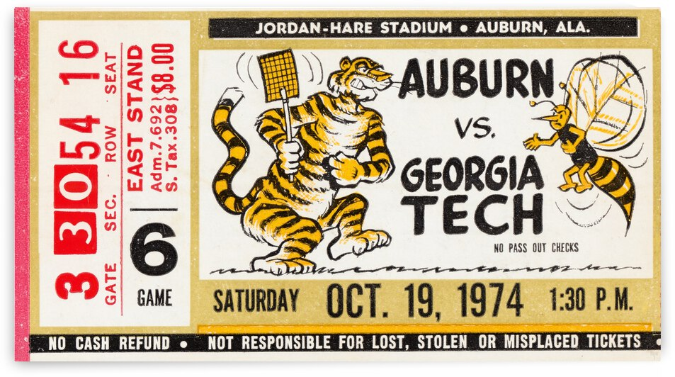 1974 Auburn vs. Georgia Tech Football Ticket Art by Row One Brand