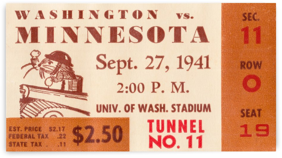 1941 Minnesota vs. Washington Football Ticket Canvas by Row One Brand