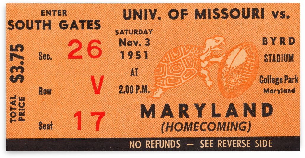 1951 Maryland Terps vs. Missouri Tigers by Row One Brand