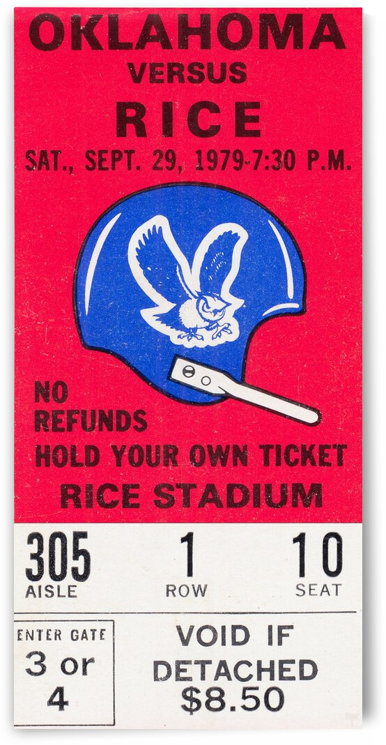 1979 Rice Owls vs. Oklahoma Sooners by Row One Brand