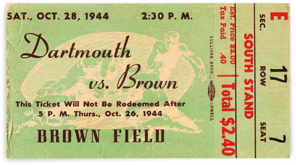 1944 Brown Bears vs. Dartmouth Indians by Row One Brand