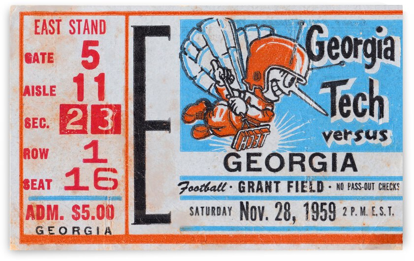 1959 Georgia vs. Georgia Tech Football Ticket Print by Row One Brand