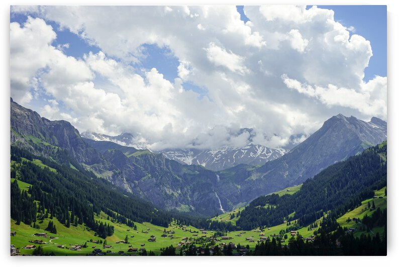 Beautiful Day in the Valley and Mountains of Adelboden Switzerland by 24