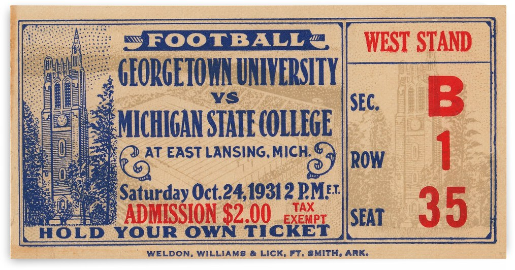 1931 Michigan State vs. Georgetown by Row One Brand