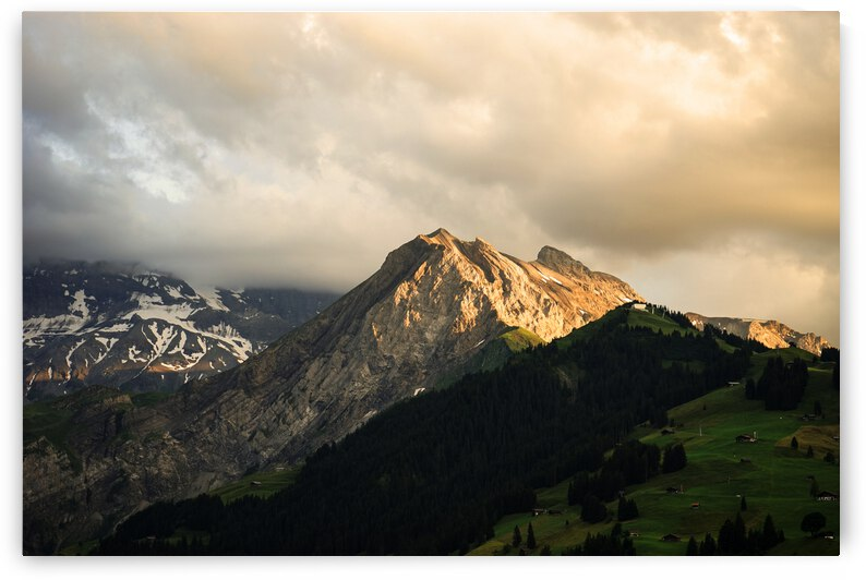 Mountain Bathed in the Golden Rays of the Sun at Sunset in Switzerland 1 of 3 by 1North
